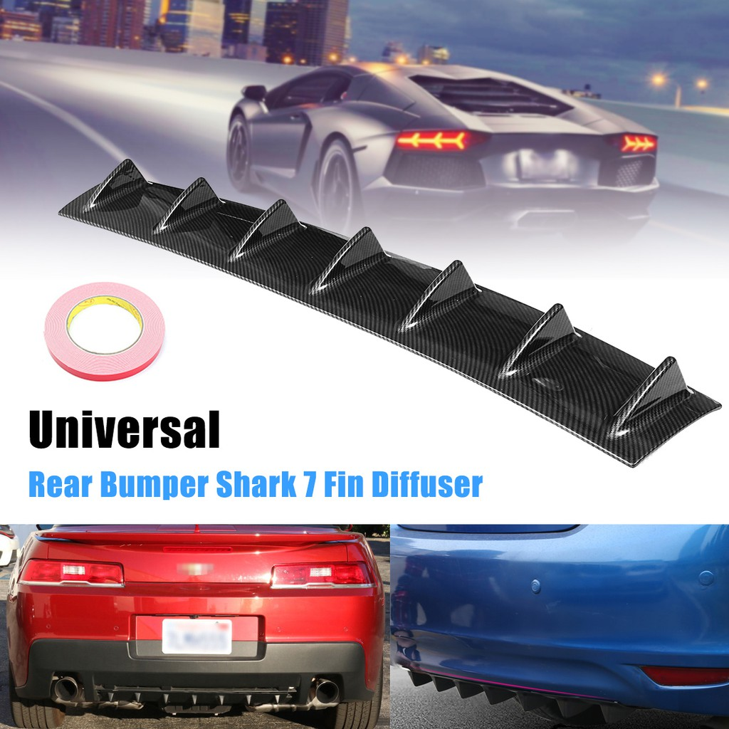 33/'/' x5/'/' Shark Fin Universal CARBON ABS 7 Wing Lip Diffuser Rear Bumper