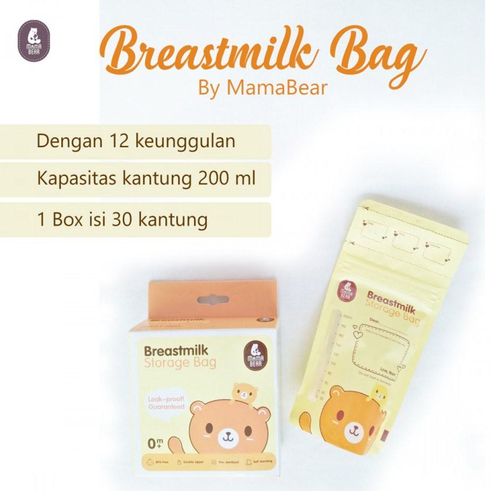 Mamabear Breastmilk Storage Bag Kantong Plastik Tempat Asi 200ml 1 Box Isi 30 Shopee Indonesia
