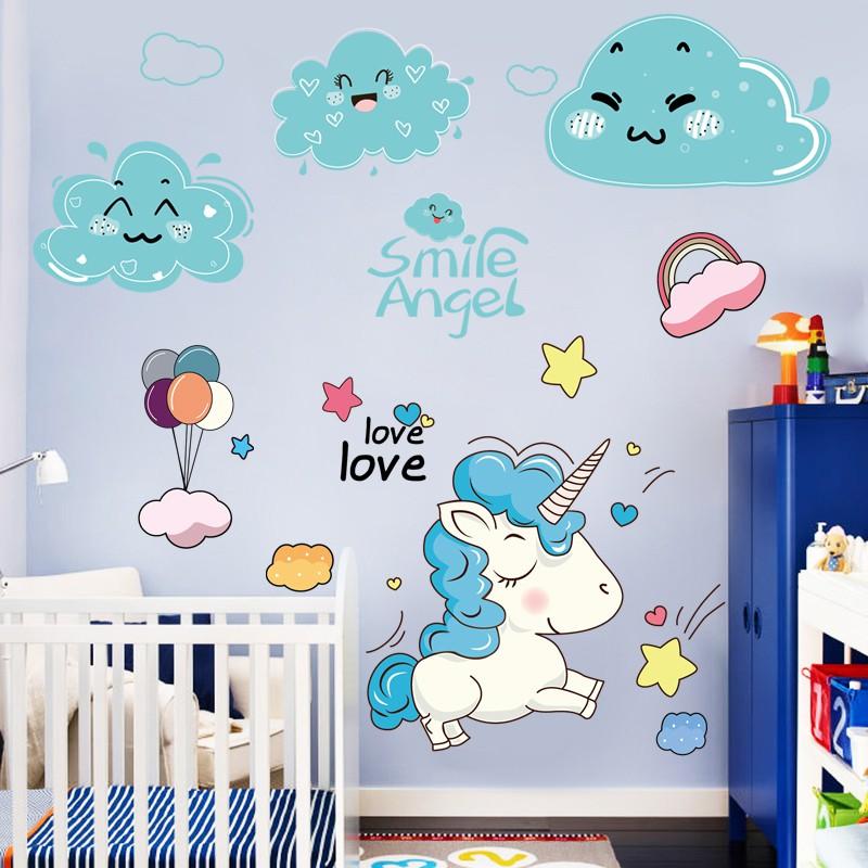 Dekorasi Dinding Kartun Unicorn Dekorasi Kamar Tidur Anak Anak Dinding Samping Tempat Tidur Stiker Dinding Transformasi Stiker Shopee Indonesia