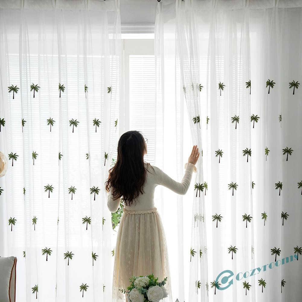 Modern Coconut Tree Windows Tulle Curtains Living Room Bedroom Drapes Sheer Shopee Indonesia
