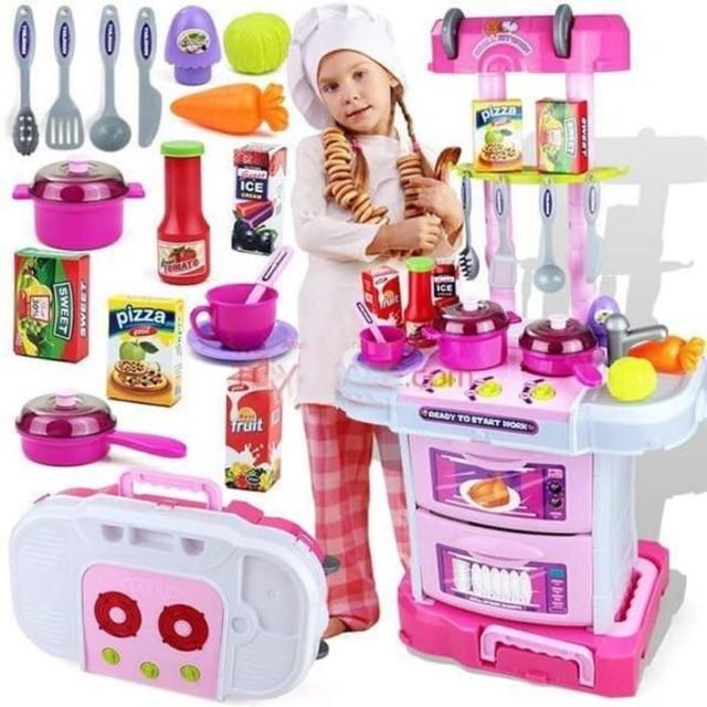 Mainan Anak Perempuan Cewek Little Chef Kitchen Set Koper 3in1 Pink Alat Masak Masakan Dapur Edukasi Shopee Indonesia