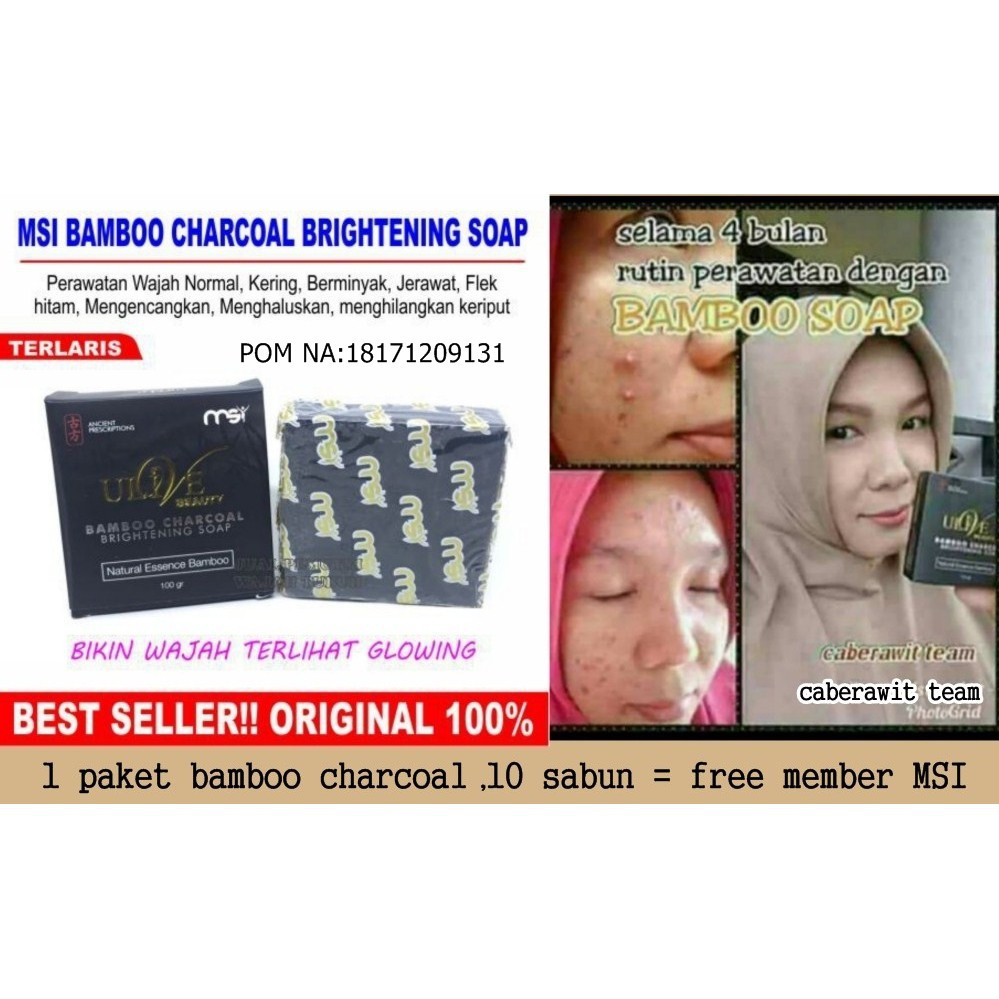 Produk Asli Original Ulive Bamboo Soap Msi Charcoal Sabun Arang 100 Shopee Indonesia