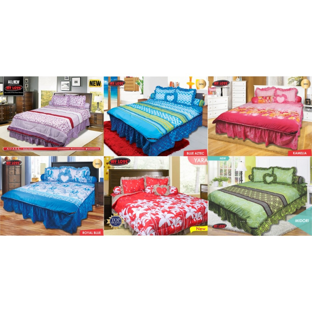 Sprei My Love Panel 3 in 1 King Size (180x200) Bantal 2 | Shopee Indonesia