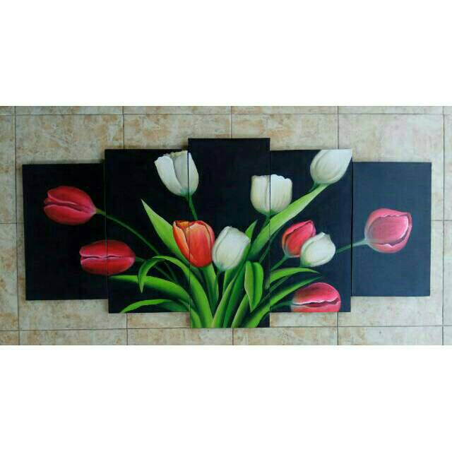 Lukisan Panel Bunga Tulip Minimalis 5in1 Shopee Indonesia