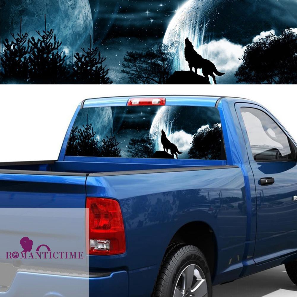 Window Graphic Tint Truck Jeep SUV Lone Wolf At Night Sticker 205