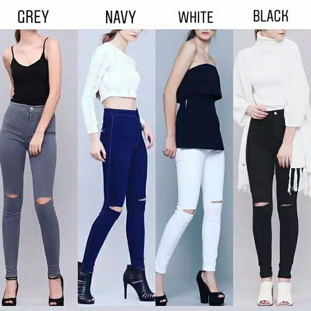 Celana Jeans Wanita Skinny Highwaist Jeans Wanita Terbaru 2020 Denim Murah Ripped Jeans Kekinian Shopee Indonesia