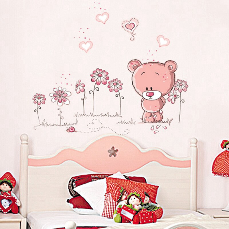 Pink Cartoon Animal Children Bedroom Room Decor Wall Stickers Kids Nursery Decal Sticker Shopee Indonesia