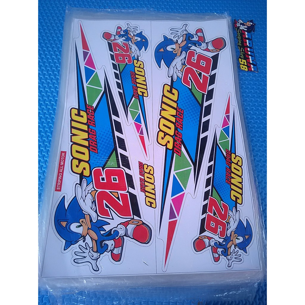 Striping Sticker Lis Variasi Motor All Matic Kartun Sonic Drag Rice