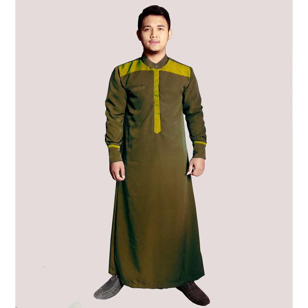 HISAN JUBAH PRIA MODEL TERBARU SULAIMAN (hijau lumut)