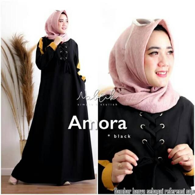 Model Baju Gamis Wanita Muslim Terbaru 2020 Bahan Halus Lembut Amora Dress Gamis Wanita Mosecrepe Shopee Indonesia