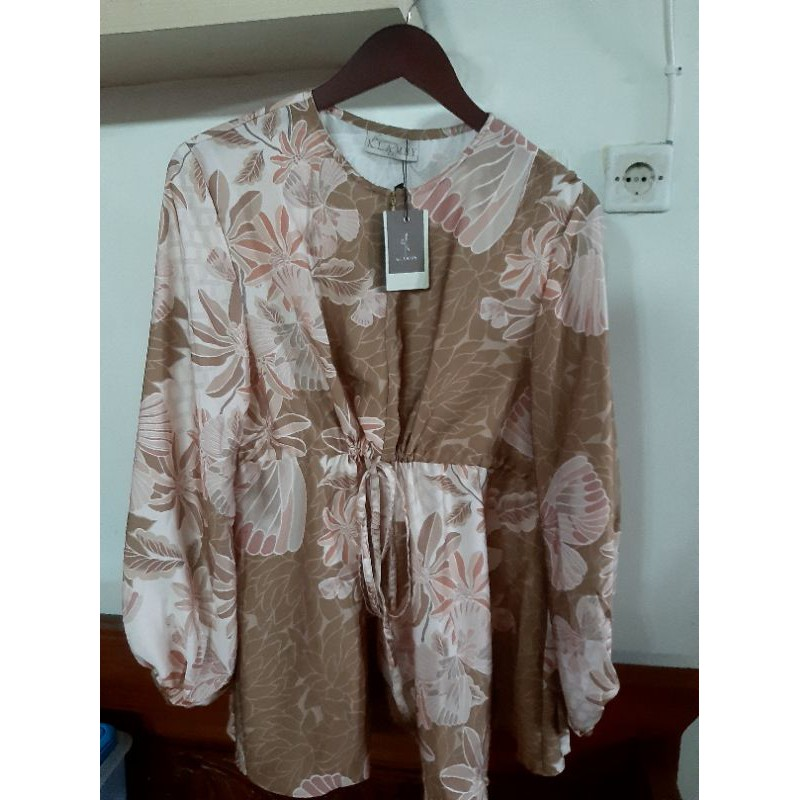 Wearing Klamby Claire Blouse in Hazel XXL New