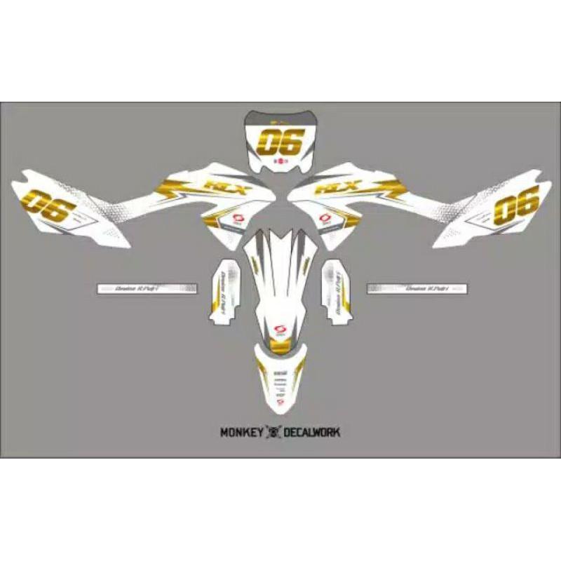 Decal klx bf putih gold