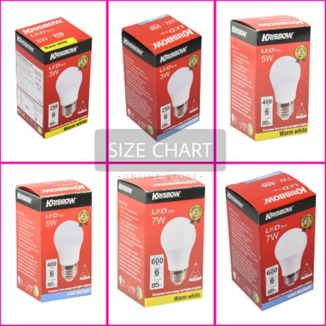 Krisbow Lampu Bohlam Led Putih Kuning 3 5 7 Watt Satuan Shopee Indonesia