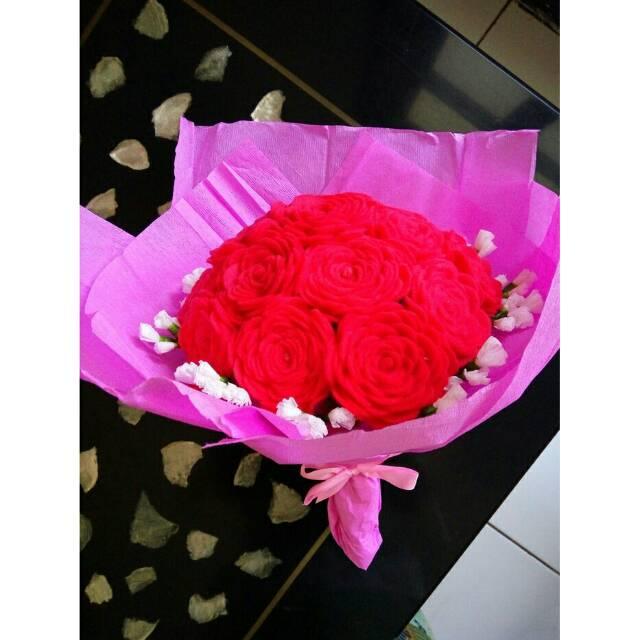 Buket bunga mawar flanel bagus, cantik / roses bouquet gift, hard pink | Shopee