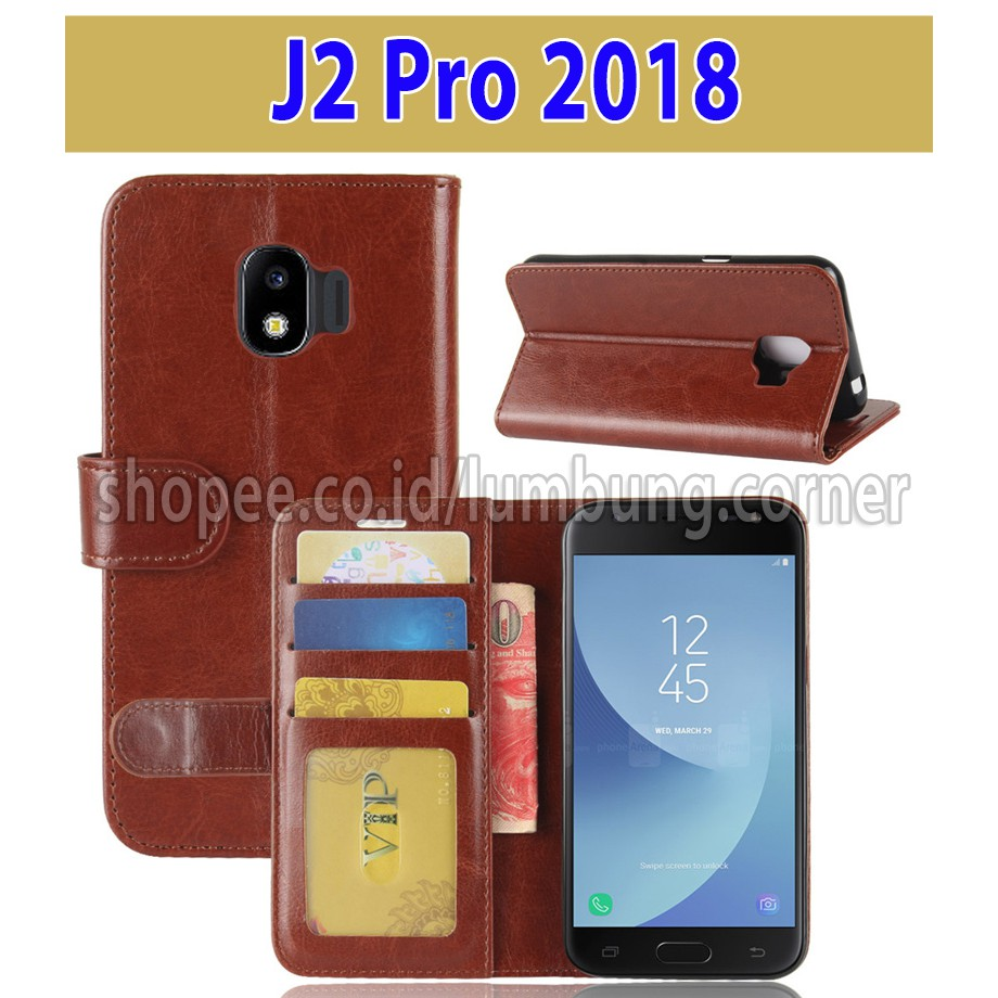 Flip Cover Samsung Galaxy J2 Pro 2018 Leather Case Wallet ...