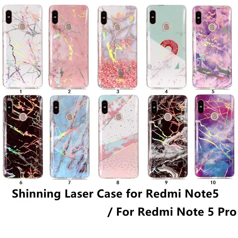Casing Soft Case TPU Motif Marmer Pink Hitam untuk Xiaomi Redmi Note 5 Pro S2