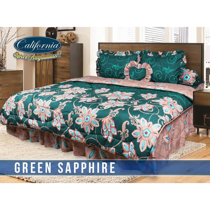 Ss Bedcover Set California My Love 180 Green Saphire 180x200 King Size No.1 Bed  Cover Set Murah | Shopee Indonesia