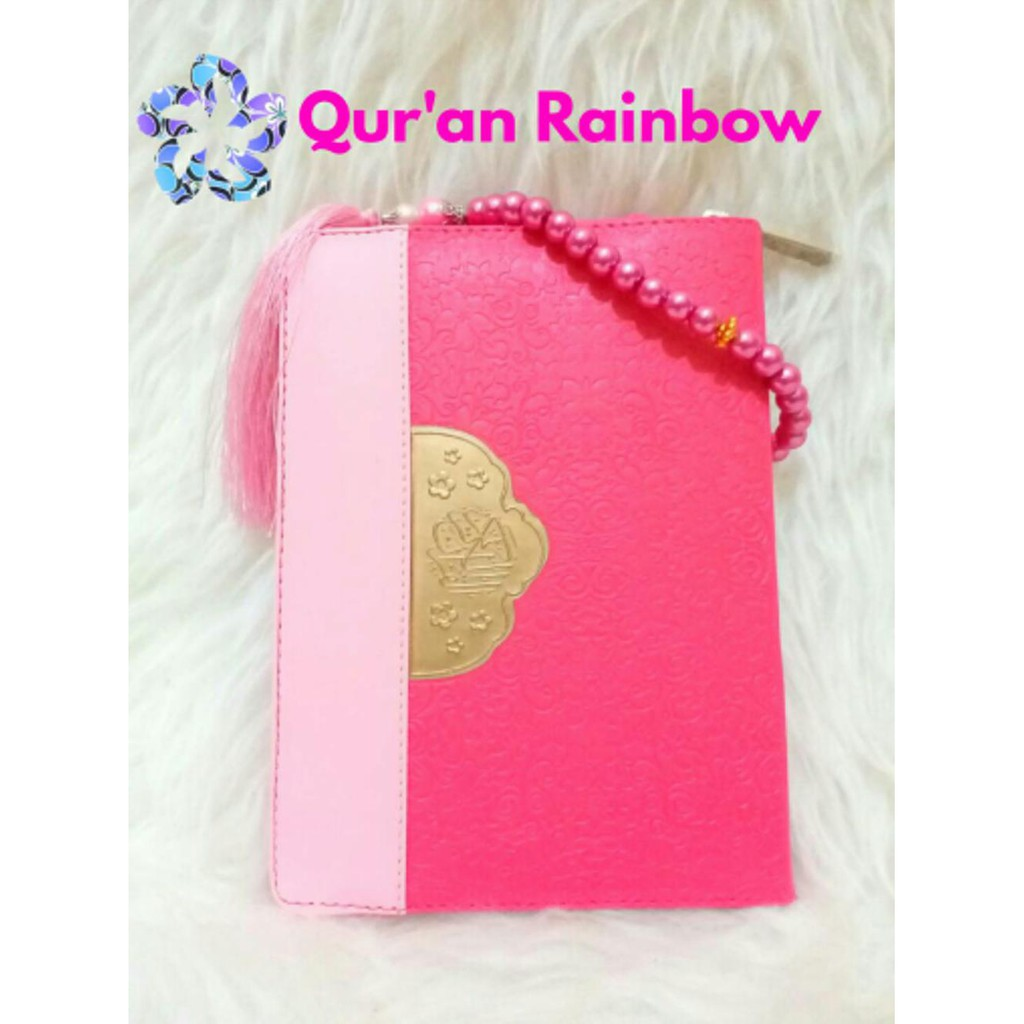 Al Quran Rainbow Fatimah Zipper Wanita Pelangi Free Tasbih Cantik Warna Pink Shopee Indonesia