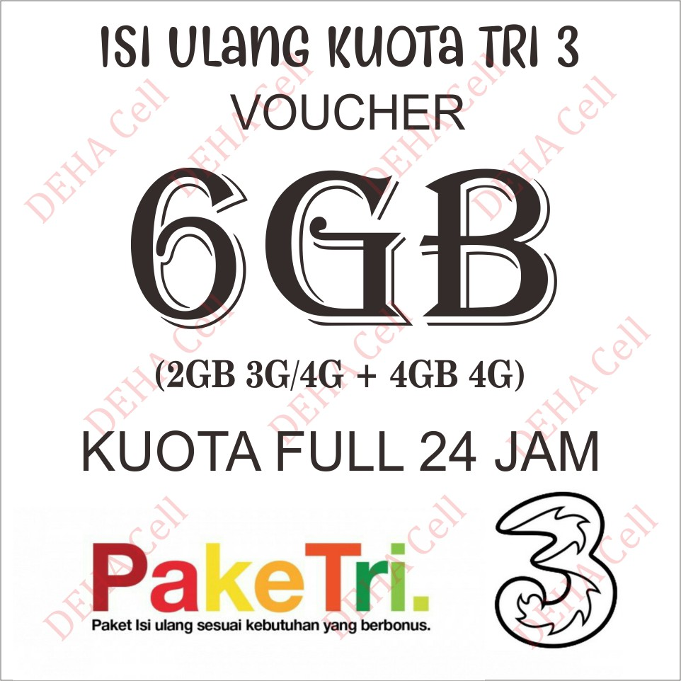 Tri Voucher Fisik Isi 6gb Vpm2 Three Aon 2 Shopee Indonesia Voucer Perdana Paket Internet 3