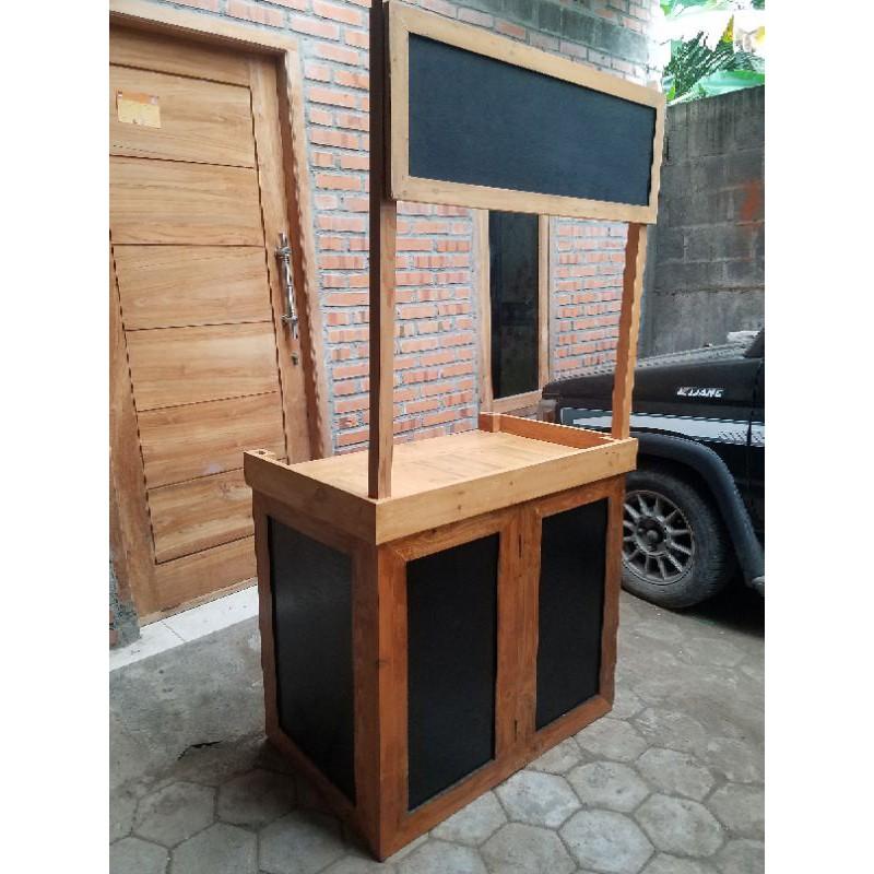 Etalase Grobak Booth Kayu Jati Belanda Portable Lipat Bongkar pasang
