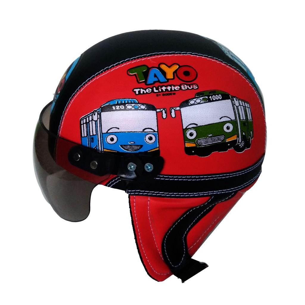 Helm anak anak retro lucu karakter Tayo Usia 2 sampai 5 tahun/merah hitam | Shopee Indonesia
