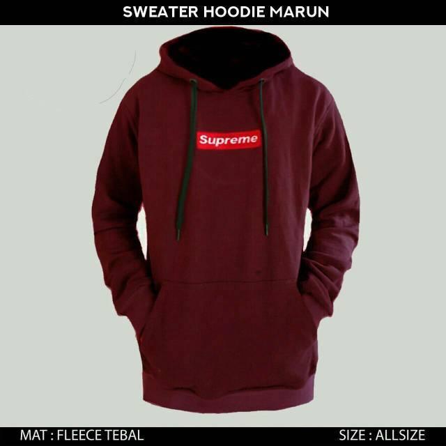 41d10ea4ac54 Jaker sweater hoodie supreme pria wanita warna Navy logo Box Bordir ...