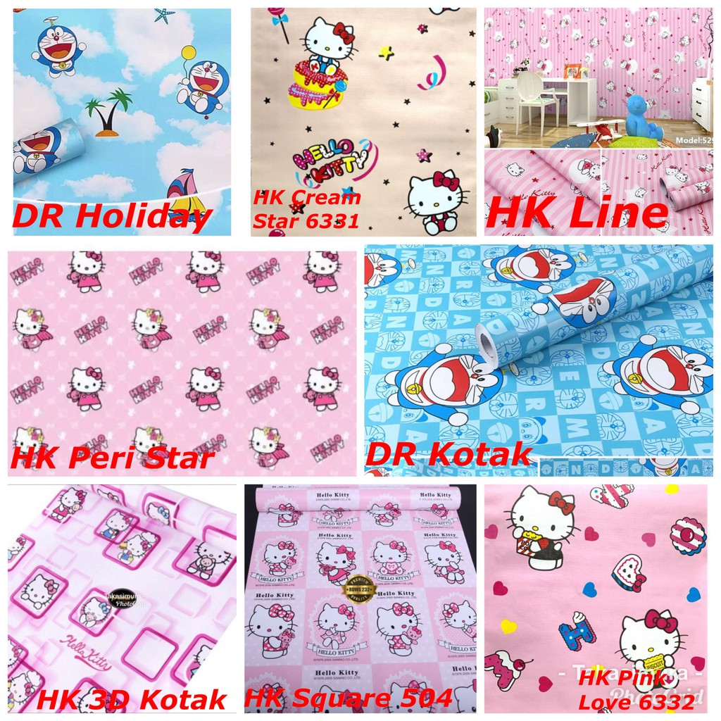 Wallpaper Dinding Terbaik Hello Kitty Doraemon Hk Stitch Tayo Frozen Keropi Ukuran 45 Cm X 10 M