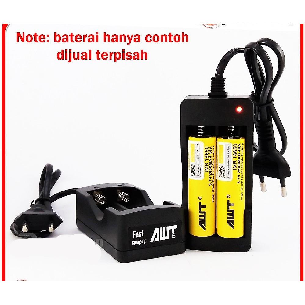 Charger baterai AWT Clone 18650 kapasitas 2 slot untuk battery vapor police senter laser dll   Shopee Indonesia
