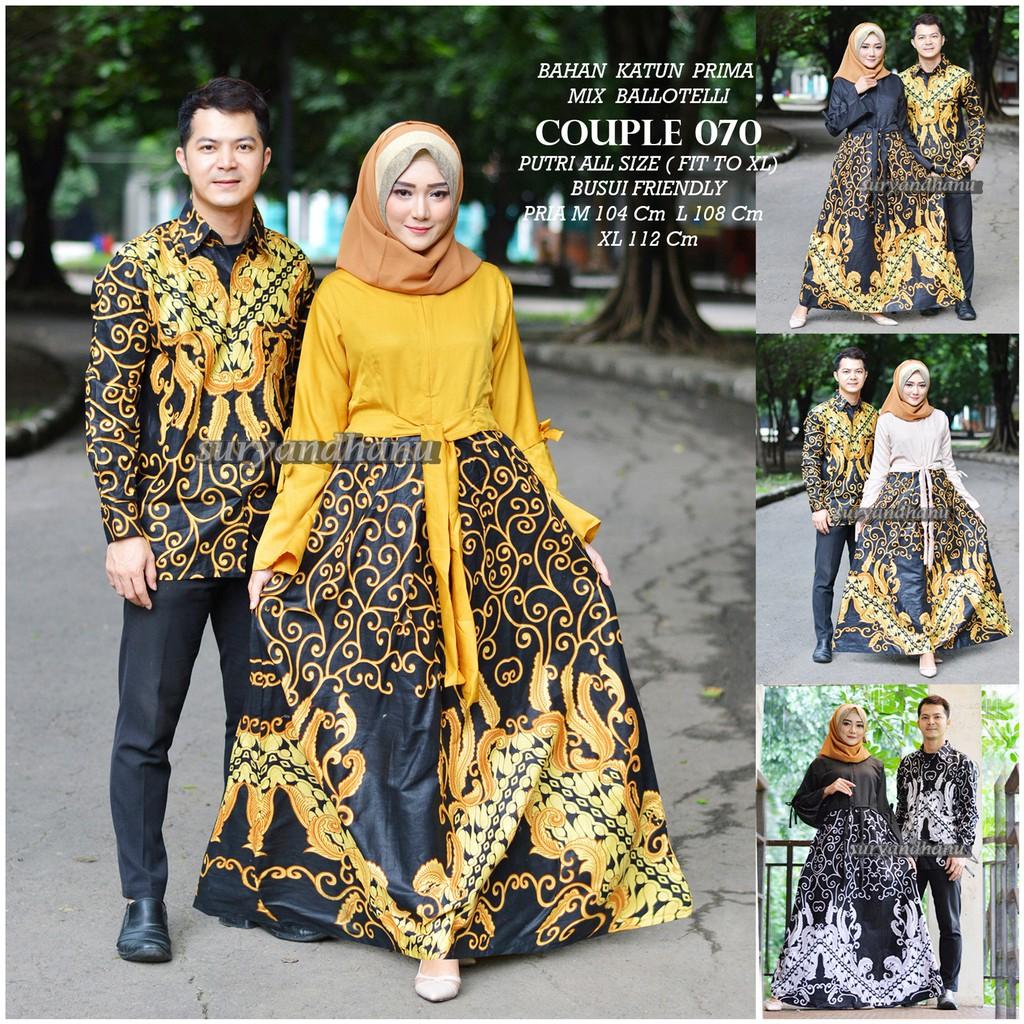 Couple Gamis Gisell ROK LEBAR Gisel COUPLE 12 Gisela Sarimbit Batik Pesta