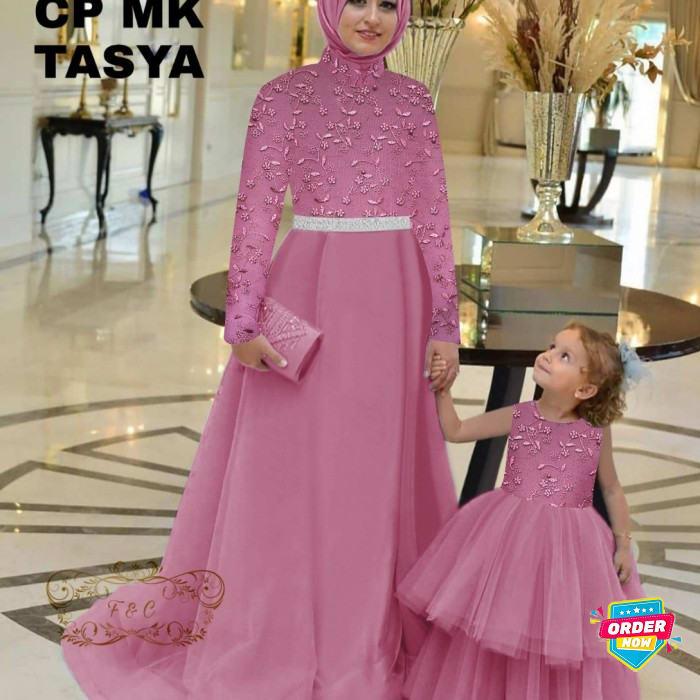 Baju Gamis Couple Ibu Anak Terbaru Model Syari Lebaran 2021 Bahan EI225 Gamis Pesta Brokat Combi Ti