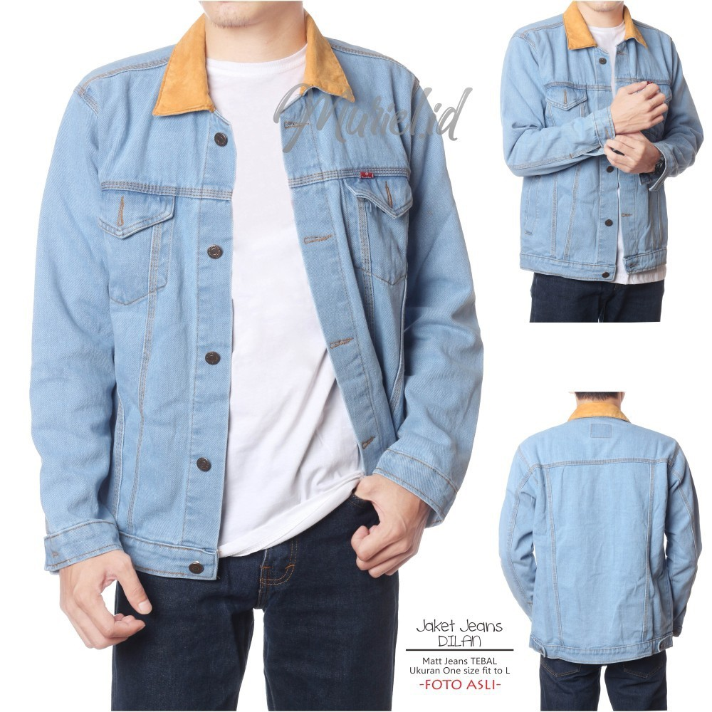 Jaket Jeans Dilan Premium Bordir Logo Usa Kombinasi Headlong Hijau Army Levis Unisex Pria Bahan Denim Shopee Indonesia