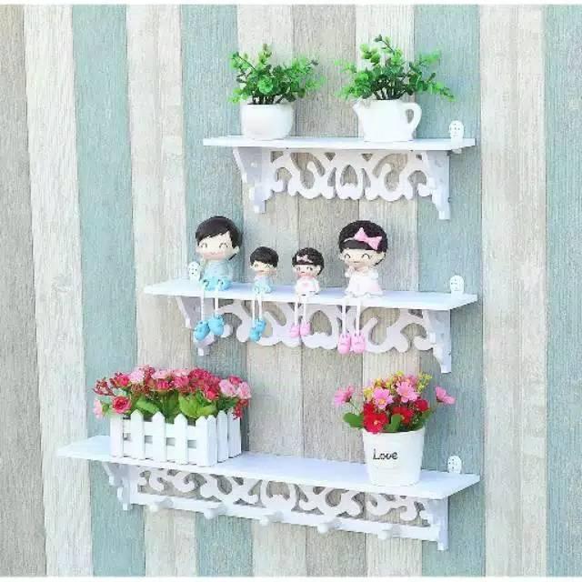 Rak Dinding Vintage Rak Hiasan Bunga Artificial Pajangan Shopee Indonesia