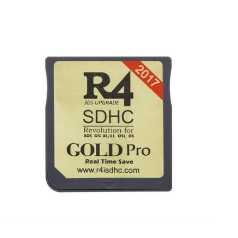 R4 SDHC Gold Pro untuk Video Games Nintendo, Emas/Putih/Silver