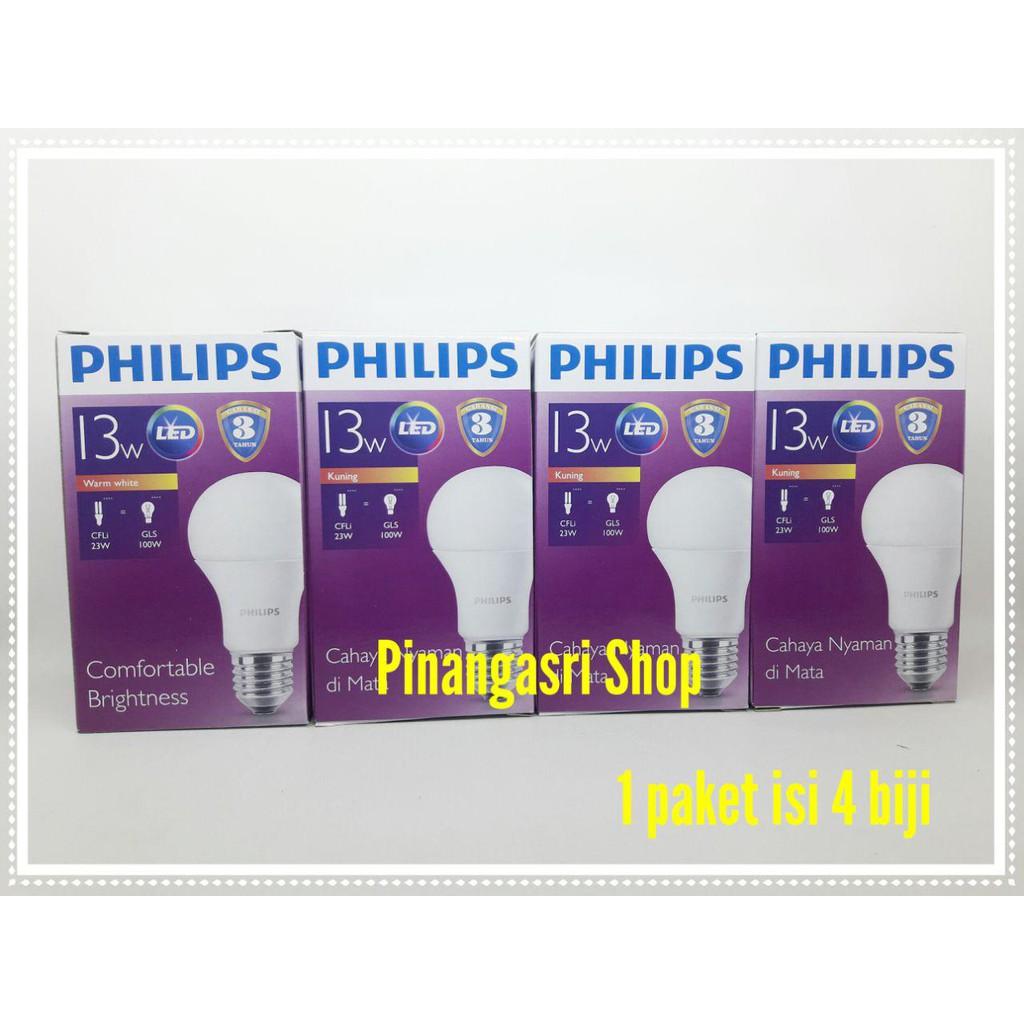 Lampu Led Philips 12 Watt Bohlam Philip Kuning W Bulb 13 13w 13watt Paket  3 Gratis 1 Pengganti Seri Lama Shopee Indonesia