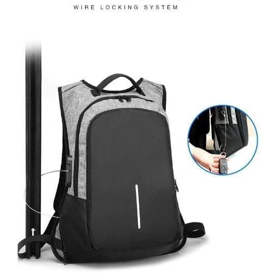 TAS MURAH!!! NEW Tas Ransel Anti Maling / Anti Air + USB Charger PREMIUM QUALITY - Hitam