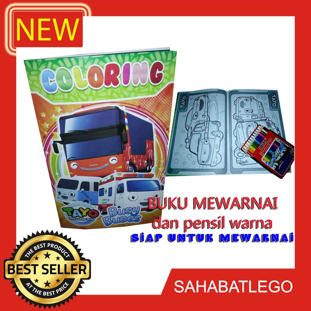 Buku Mewarnai Gambar TAYO The Little Bus Coloring Dan Pensil Warna Joyko