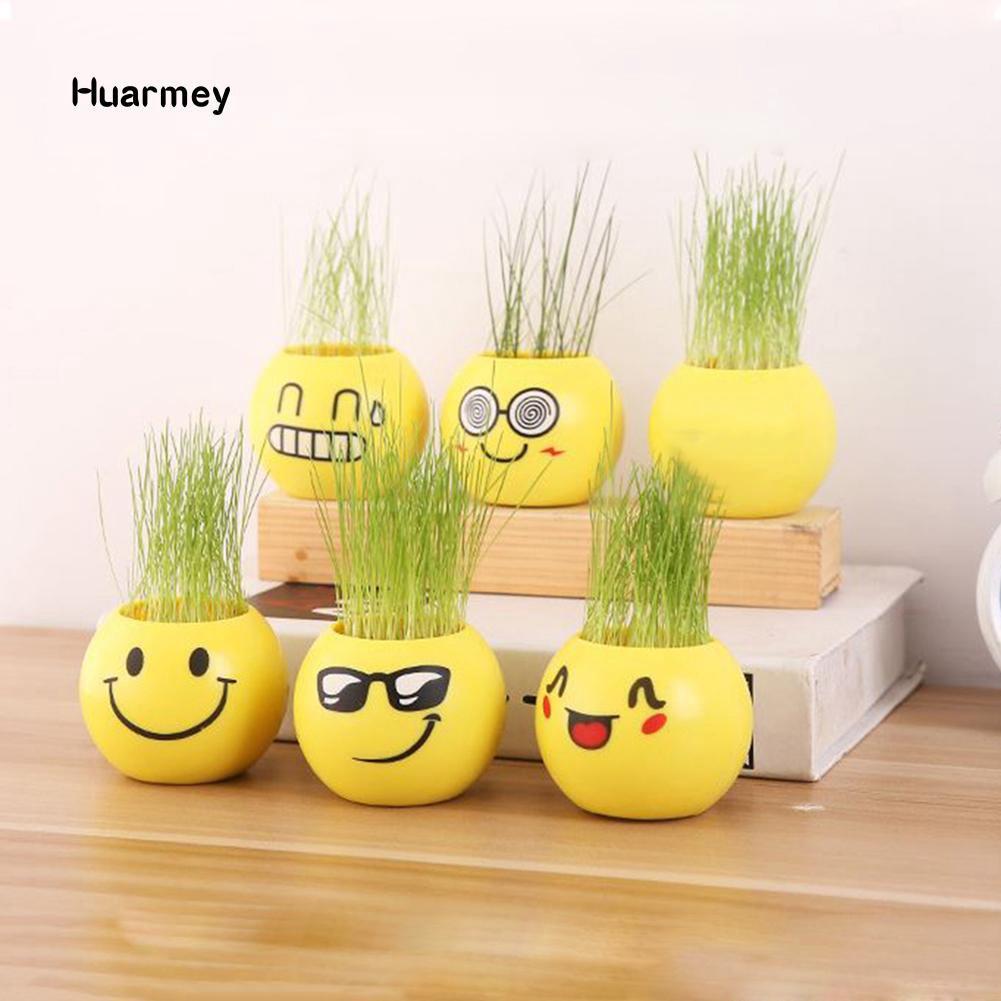 Hu Pot Bunga Mini Desain Emoji Bahan Plastik Untuk Dekorasi Rumah