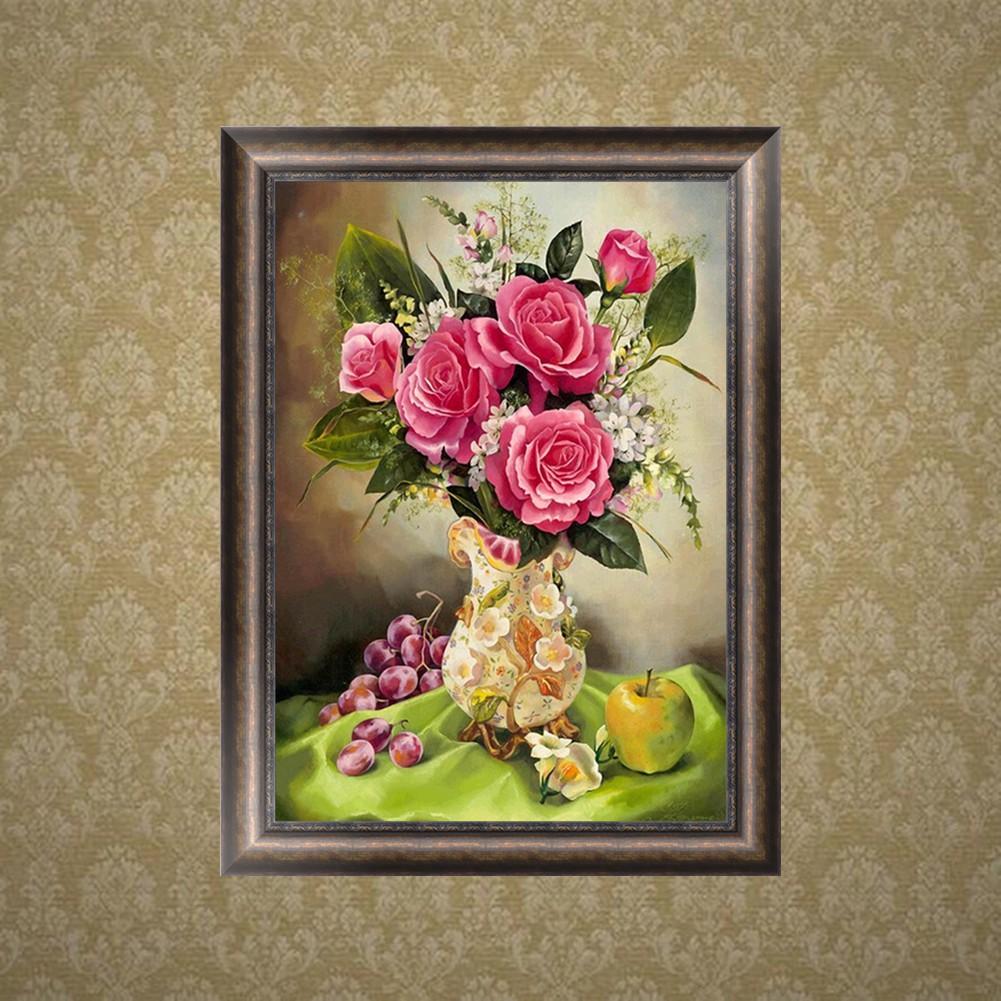 Diy Lukisan Diamond 5d Dengan Gambar Bunga Dan Hiasan Berlian