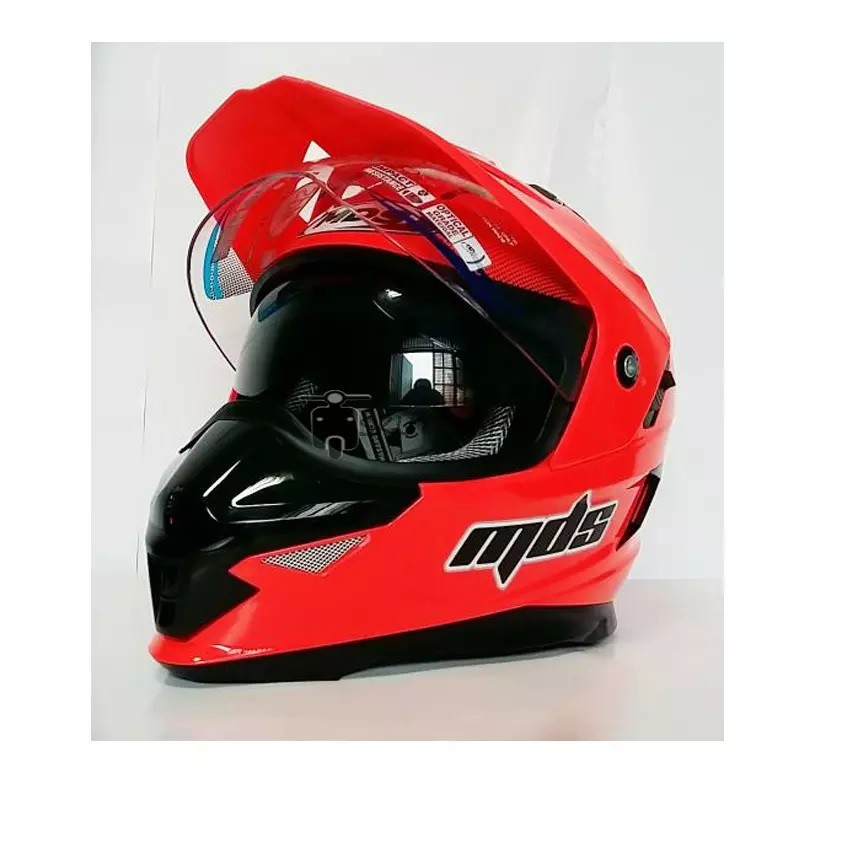 HELM MDS SUPERPRO RED FLUO DOUBLE VISOR HELM TOURING MDS