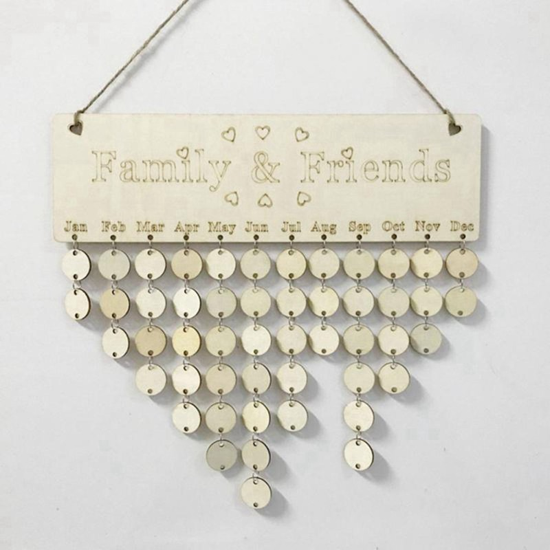 Shabby Chic Family Celebrations Reminder Calendar Plaque Board Hanging Sign