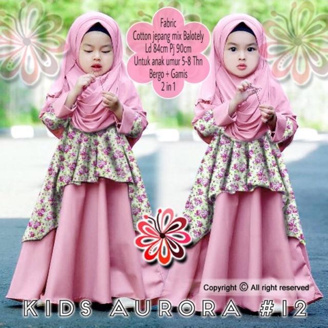 BAJUYULI - Baju Muslim Anak Perempuan Gamis Jersey Peach Mint ... 4409871f4e