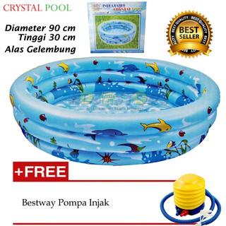 Kolam Renang Anak Kolam Mandi Bola Inflatable Crystal Pool 90 Cm