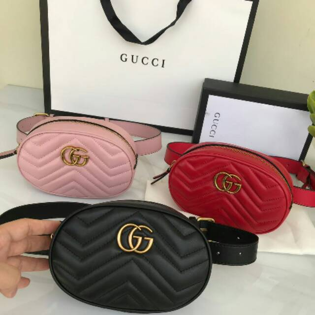 61fa6e13296d Waist bag gucci GG marmont metelasse leather belt bag mirror | Shopee  Indonesia