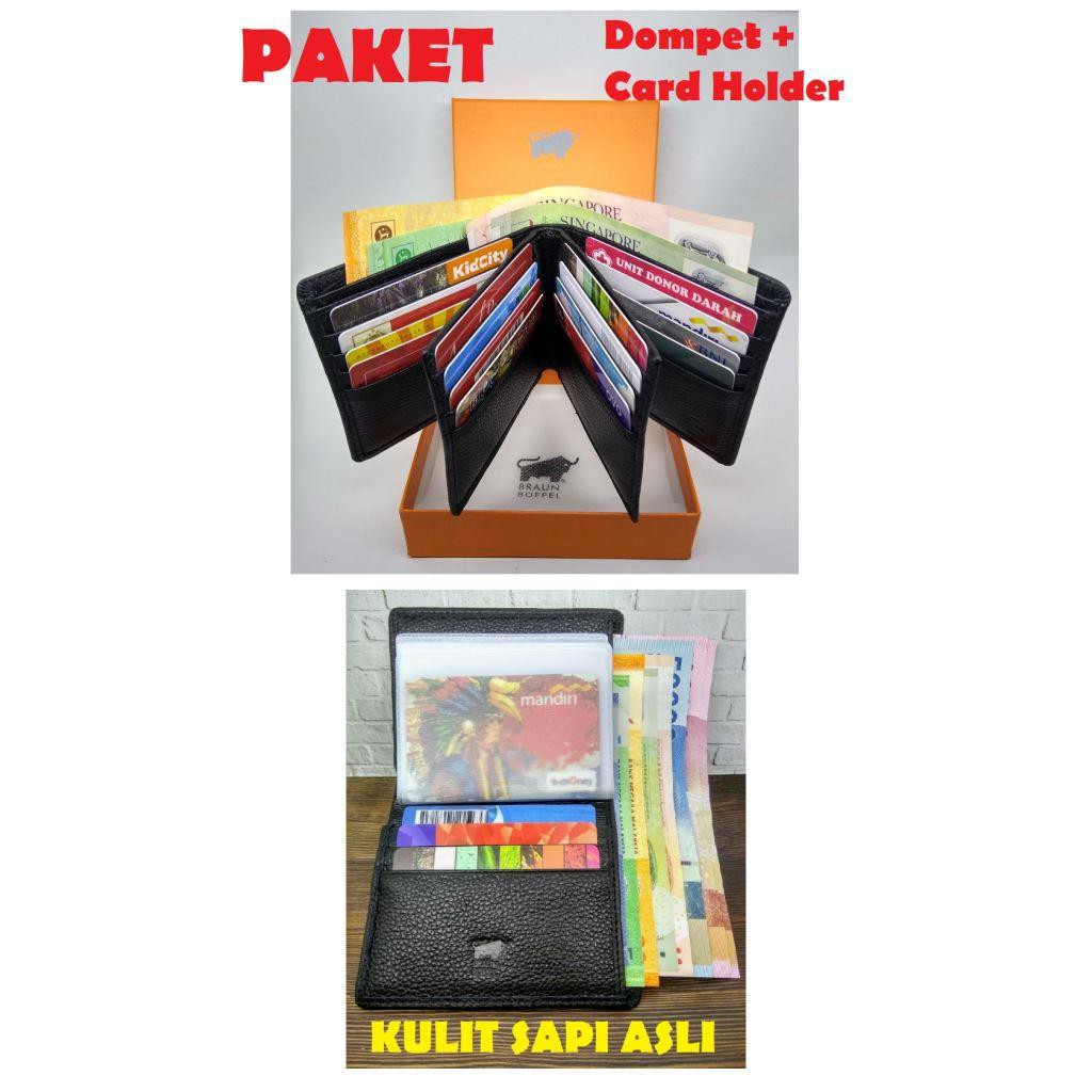 Paket Hemat Dompet Pria Kulit Asli 16 Slot Kartu Card Holder I Tipis Slim Import Branded Braun Buffel Shopee Indonesia