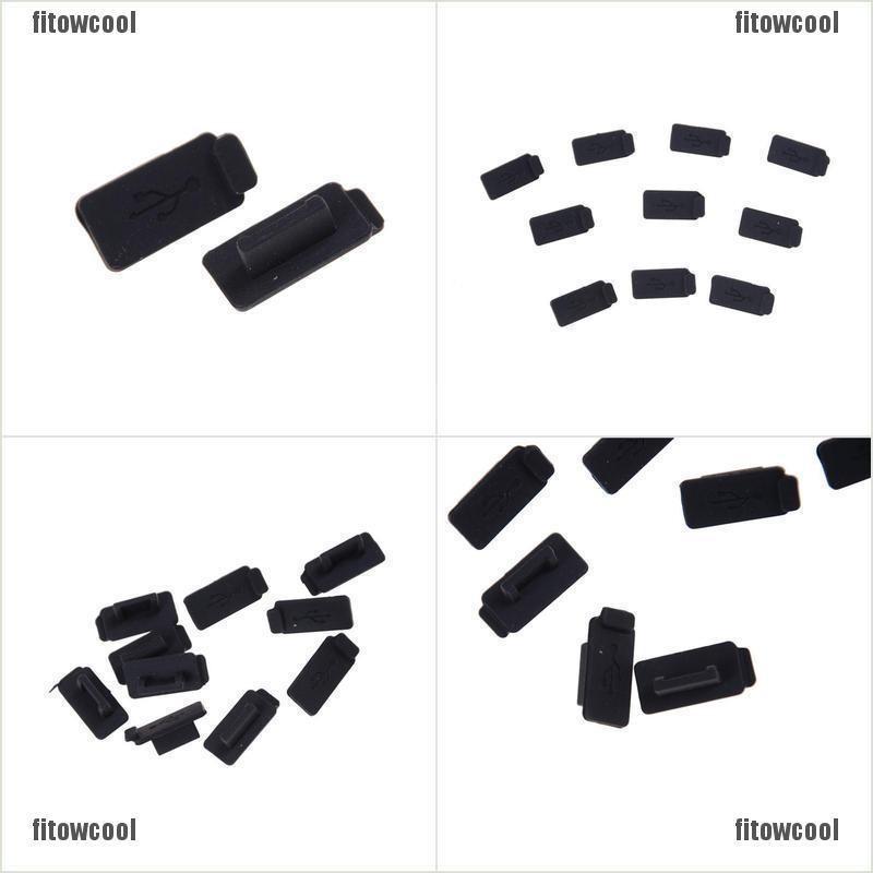 10pcs Black PC Laptop USB Plug Cover Stopper Rubber Soft Silicon Dust Cap Al