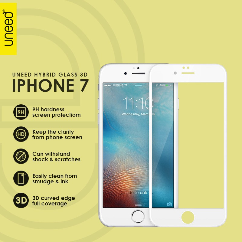 UNEED HYBRID GLASS 3D SCREEN PROTECTOR for iPhone 6 / 6S - Original | Shopee Indonesia