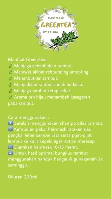 Faliha Hair Care Hair Mask Greentea Masker Rambut Teh Hijau Shopee Indonesia