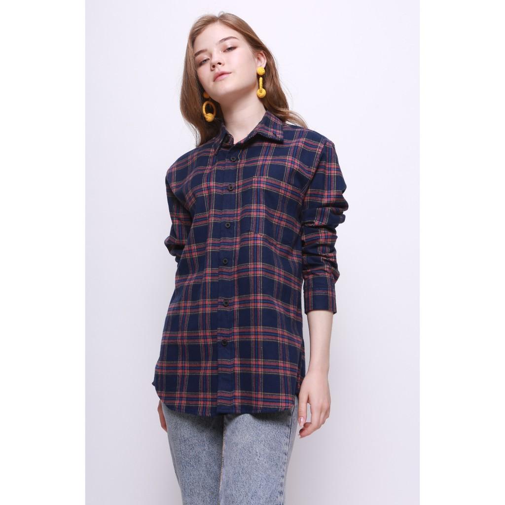Erigo Flannel Necali Navy Unisex Shopee Indonesia Cottonology Camden Merah S