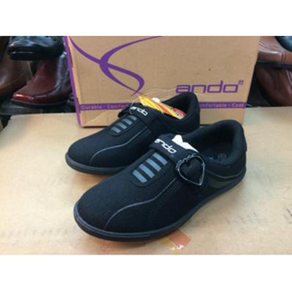 Sepatu Ando Original Fullblack Hitam Perlengkapan Sekolah Anak