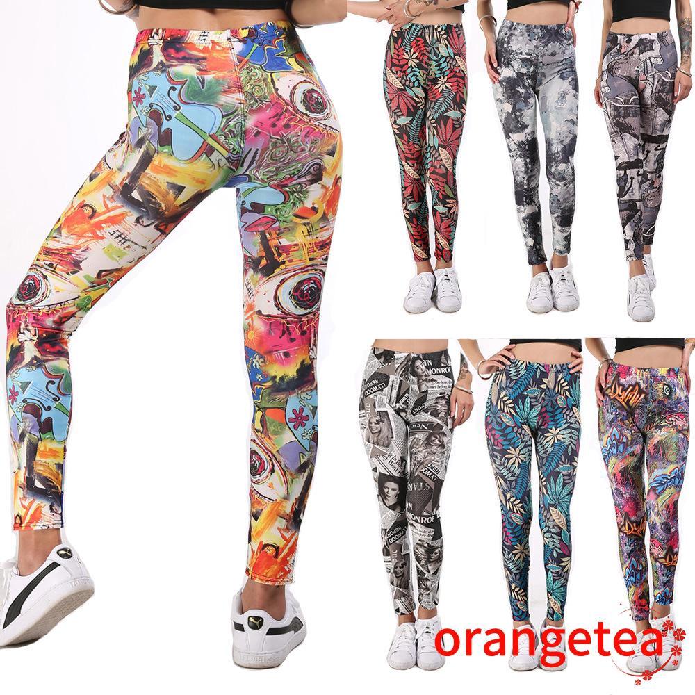 Rh Celana Legging Wanita High Waist Motif Graffiti Untuk Fitness Yoga Shopee Indonesia